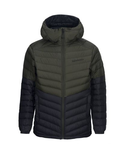 18d3dda0 Peak Performance - Frost Down Hooded Blocked Jacket Men dunjakke - Forest  Night 4BT