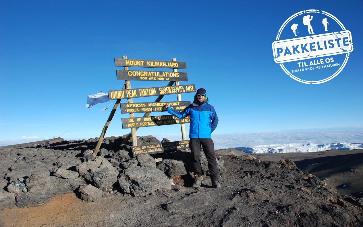 Pakkeliste til bestigning af Kilimanjaro