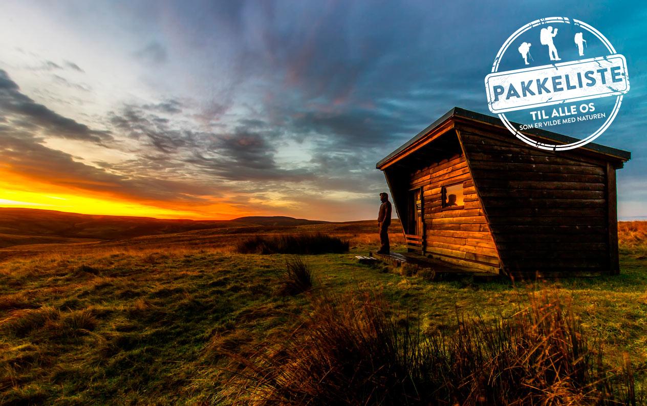 Pakkeliste til vandretur med fast hytte (forår, sommer og efterår)